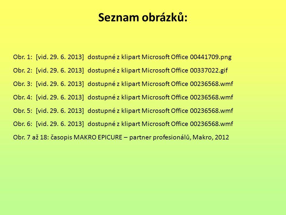 Seznam obrázků: Obr. 1: [vid. 29. 6. 2013] dostupné z klipart Microsoft Office 00441709.png.